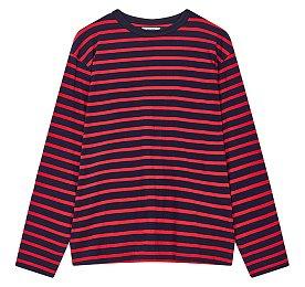 롱 슬리브 스트라이프 티셔츠