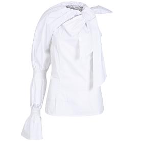 ★아이유 착용★[시즌오프 30% OFF]Asymmetric Smocked Sleeve Top