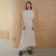 Dress Sleeveless Stripe Linen Beige