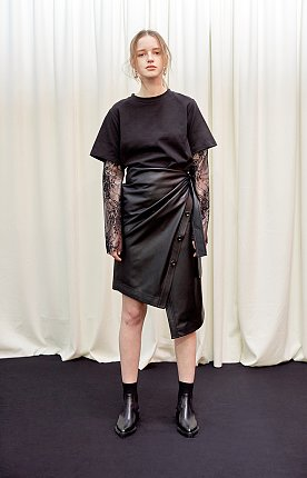 Asymmetrical faux-leather wrap skirt