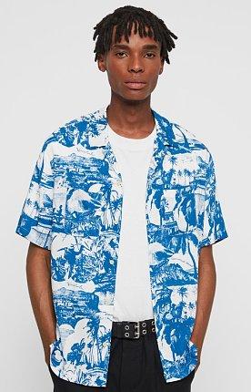 MS050R 올세인츠 아와 셔츠 WHITE/BLUE