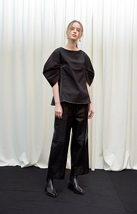 Faux-leather paneled track pants