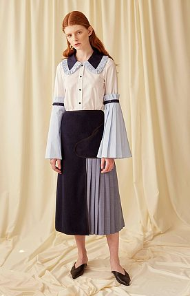 Attachable Pleated Sleeves Cotton Blouse