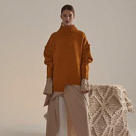 Rothko Wool Blend Oversized Logo Knit_Mustard Yellow