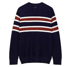 소재변형 컬러블럭 스웨터