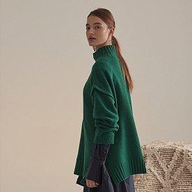 Rothko Cashmere Blend Oversized Logo Knit_Forest Green