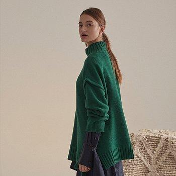 [문별 착용] Rothko Cashmere Blend Oversized Logo Knit_Forest Green