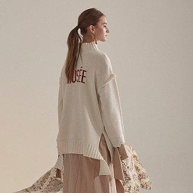 Rothko Cashmere Blend Oversized Logo Knit_Ecru Ivory