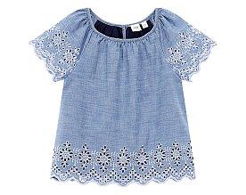 ★갭키즈 19년 SPRING★ [키즈 여아 6-14세] 아일렛 레이스 플레어 티셔츠