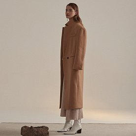 Roi Cashmere Blend Oversized Long Coat_Camel