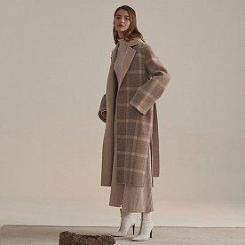 [배윤영,김선아,이선빈착용]Reine Cashmere Blend Reversible Coat_Ivory Check