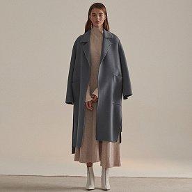 [심소영 착용]Reine Cashmere Blend Reversible Coat_Monaco Blue