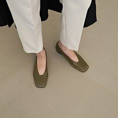 20mm Freja Hand Stitch Loafer Shoes (Olive)