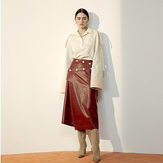 Burgundy Coated Cotton Skirt