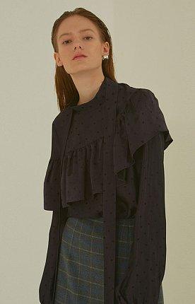 Etienne dot print ruffle blouse _ Violet
