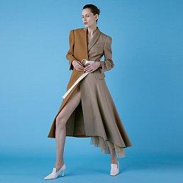 Eyelet Two-ton Wool Blend Coat