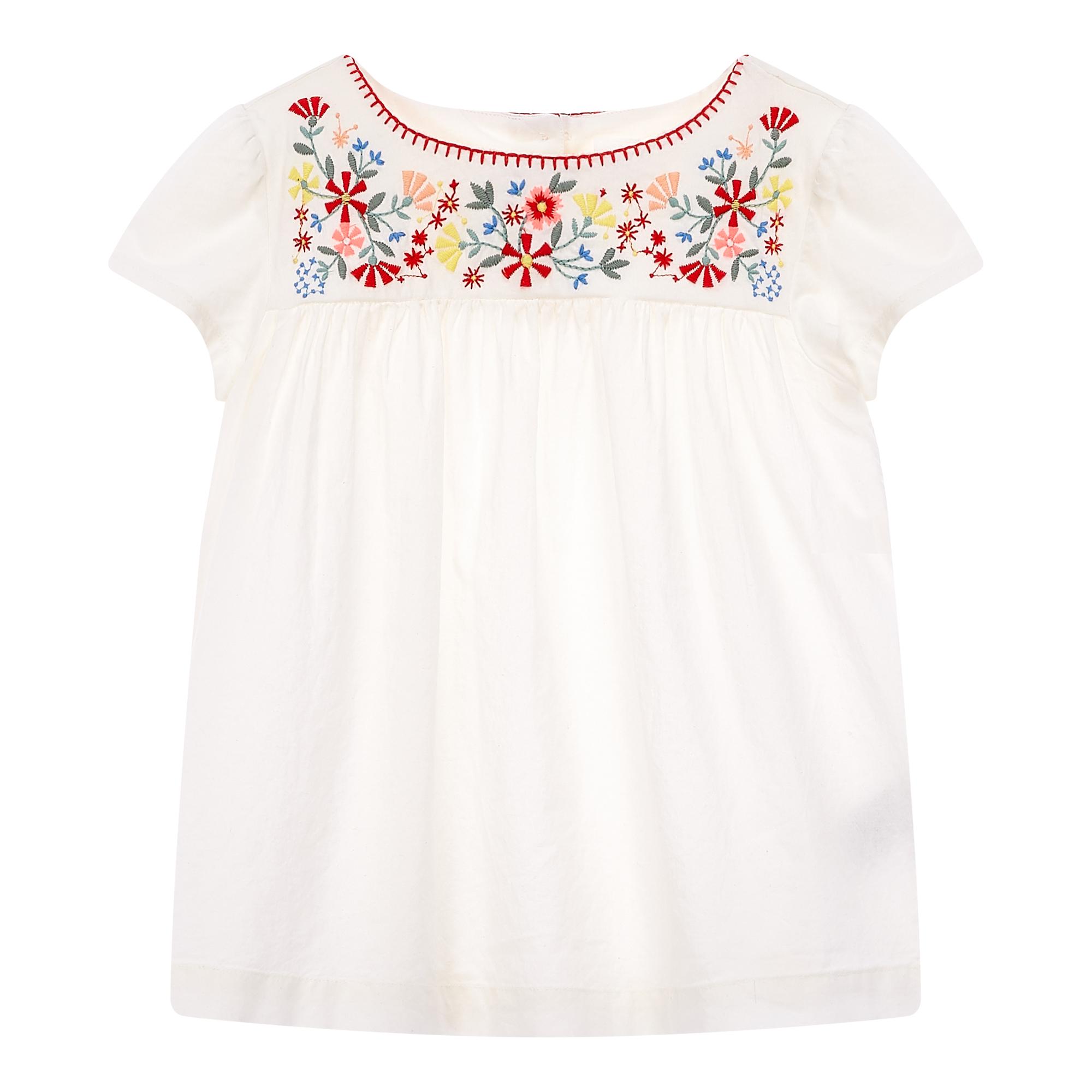 ★갭키즈 19년 SPRING★ [키즈 여아 6-14세] 플로럴 자수 플레어 티셔츠