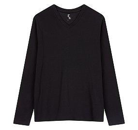 에센셜 브이넥 긴팔 티셔츠