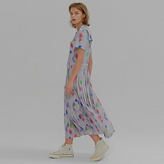 MALO Short-sleeve Pleats Shirt Dress Multi