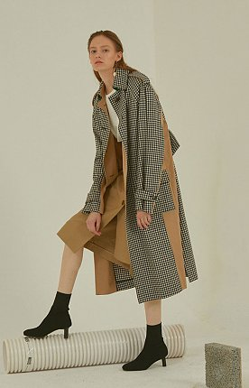 Bruxelle oversized check trench coat _ Gingham check
