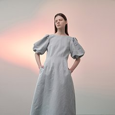 Puff-Sleeved Linen-Blend Dress