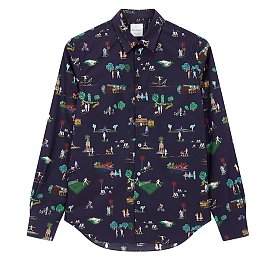 멀티 피플 그래픽 코튼 셔츠