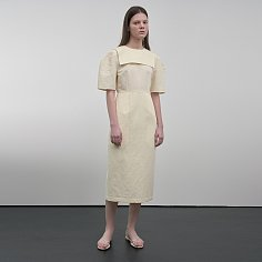 Sailor Collar Linen-Blend Dress