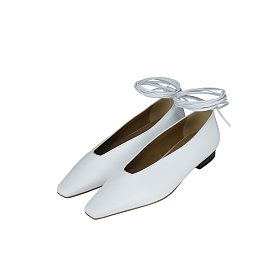 ANKLE STRAP FLATS (WHITE)