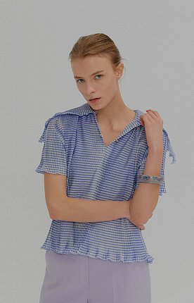 MONA Blue Check Pleated Short-sleeve Top with Sailor Collar