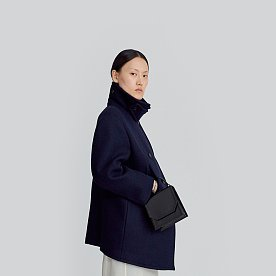 DOUBLE BREASTED WOOL PEA COAT (NAVY)