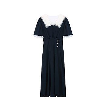 V-NECK LACE DRESS - NAVY