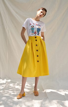 [Chapter.2]Pintuck Botton Skirt(YELLOW)