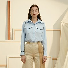 Pastel Blue Cotton Shirt With Navy Trimming
