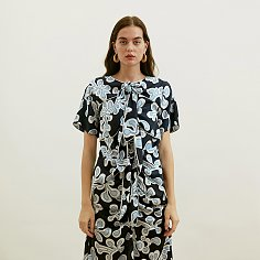 Navy printed Tie-Front Midi Dress With White Piping