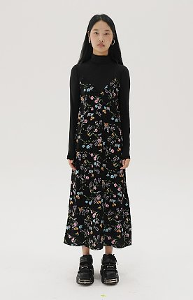 [TC19AWOP03] FLOWER PRINT COMBINATION JERSEY DRESS