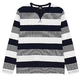 슬럽 변형 스트라이프 티셔츠