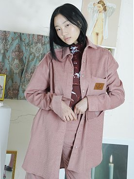 BABY LEATHER PATCH CORDUROY SHIRTS [PINK]