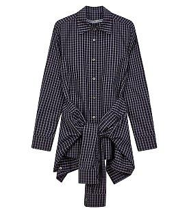 체크 패턴드 끈 장식 셔츠