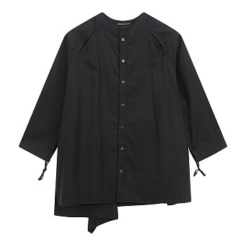 [+NOIR]끈 장식 소매 와이드 셔츠