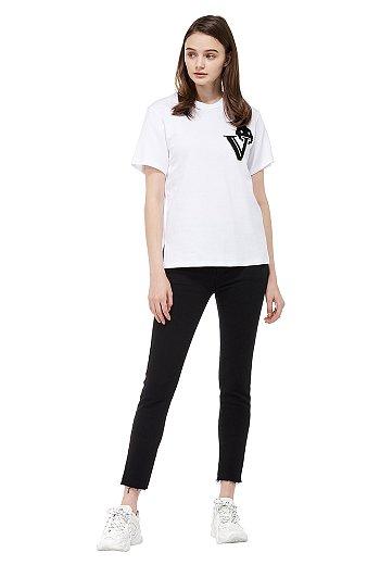 루비 V 패치 슬릿 티셔츠