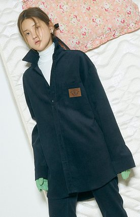 BABY LEATHER PATCH CORDUROY SHIRTS [NAVY]