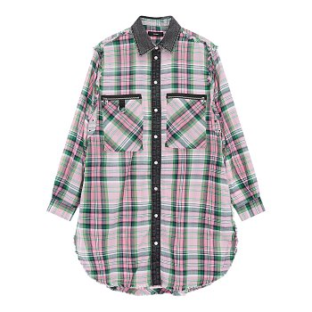 체크 패턴드 데님 배색 셔츠 원피스