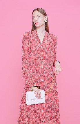 KHLOE Alphabet Check patterned pleats dress