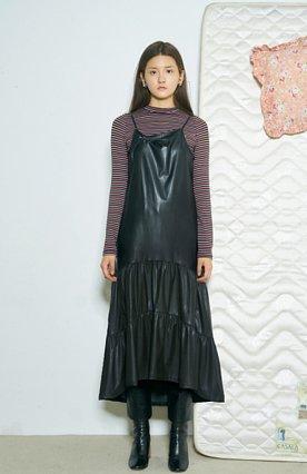 LEATHER SHIRRING DRESS [BLACK]