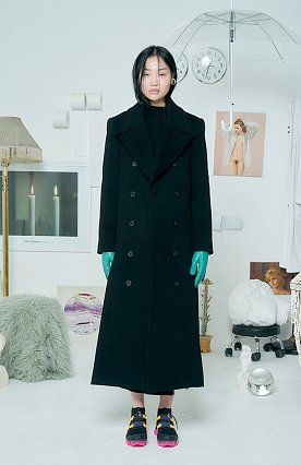 Long Slit Wool Coat [BLACK]