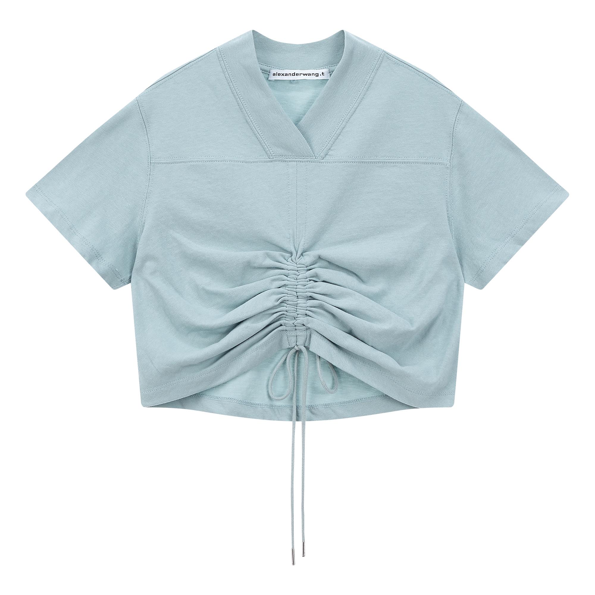 립 배색 스트링 반팔 티셔츠