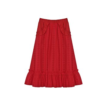 BROIDERY MIDI SKIRT - RED