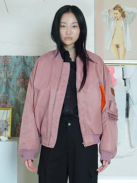LEATHER PATCH MA-1 JUMPER [PINK]