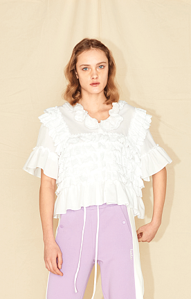 COTTON CAN-CAN BLOUSE - WHITE