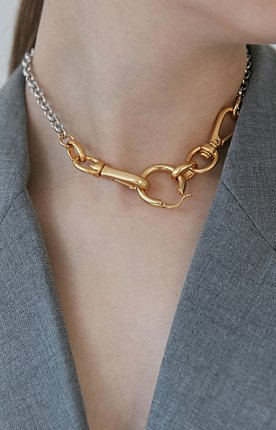 linked chunky hoop necklace 링크 후프 체인 목걸이